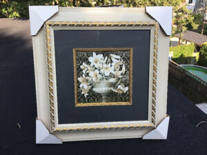 Framed and matted White Lilies by Delta Graphics