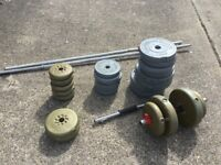 Miscellaneous set of weights including bar. Average condition. Buyer to collect please