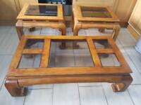 Hardwood Coffee Table x 2 Lamp Table