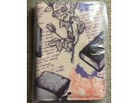 "7 inch Case Cover Book For 'Tablet - 7"" Cream flowers and books"