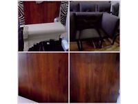 NEW LUXURY SOLID DARK WOOD DINING TABLE & 6 MODERN DINING CHAIRS(suit 6-8) unused costed over £1000