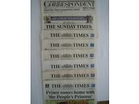 First Edition Sunday Correspondent plus Times newspapers covering the week of Diana's death.