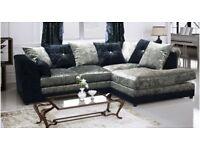 luxury corner sofa black and silver crush velvet last few