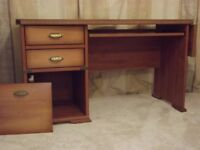 Extendable Wooden Desk with Keyboard Shelf, 2 Drawers & Cupboard