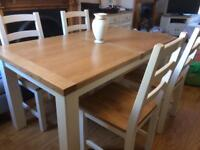 Oak Shabby Chic Dining Table 4 Chairs
