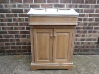 Vanity unit, free standing with traditional white sink, chrome taps and washed Oak base cupboard
