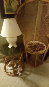 High back wicker chair, table and lamp