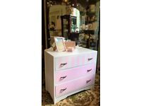 pretty pink and white vintage dressing table with mirror plus more bedroom furniture