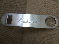 Breweriana man cave - Budweiser bar blade bottle openner and Spaghetti measure Pub memorabilia