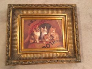 CUTE Antique Print of Kittens - Looks Like Oil Painting