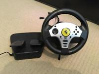 Thrust master steering wheel and pedals