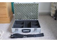 Aluminum type camera case and strap, with dividers and sponge lid, very good condition