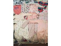 Baby girls babygrows 0-3 months
