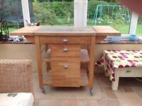 Wooden butchers trolley
