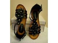 wedge black flower sandals with zip