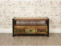 Java Rustic Industrial Reclaimed Television Cabinet - Brand New
