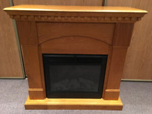 Oak fireplace with mantle
