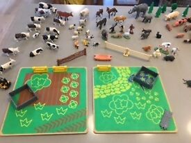 Fantastic selection of 50 farm animals, wooden buildings, fences and other miscellaneous toys