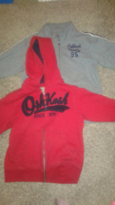 Two Osh kosh zipper sweaters/hoody/hoodies