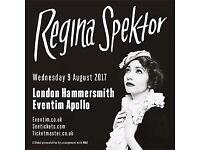 Regina Spektor, London, 9 August 2017, 2 tickets stalls seated
