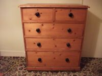 chest of draws pine Victorian large old bedroom side table slippers wardrobe