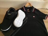 Trainers and Pretty Green Polo Shirt.