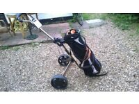 Taylormade golf bag and Evolution Plus E525 trolley