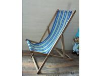 Vintage Blue and Yellow candy striped Wooden Framed Deck Chair