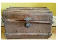 Vintage Metal Steamer Chest / Trunk