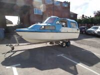 1978 Wavey Rider Marine Wanderer 553 19ft River and Canal Cruiser with Trailer PROJECT Boat