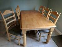 Solid pine kitchen dining table with 6 chairs
