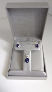 Lab created blue sapphire earings & necklace set STERLING SILVER