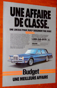 FRENCH 1988 BUDGET RENT A CAR AD WITH LINCOLN TOWN CAR - ANONCE