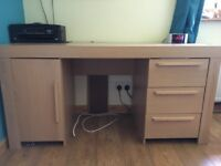 Computer desk with three draws and cupboard