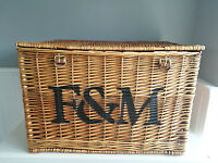 Large Fortnum and Mason F&M Wicker Hamper Basket with leather straps