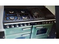 Range cooker. Rangemaster 110cm Gas with Electric Grill and Hotplate - used. Green and Brass