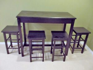 Bar height table & 4 stools