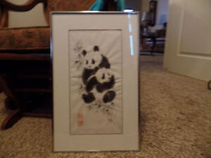 """PETER KARSTEN Framed PANDA Picture """"Chinese Water Color"""" ~AS NEW"""