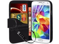 Samsung Galaxy S5 Book Flip Leather Wallet Case Cover with Free Stylus, Screen Protector & Cloth