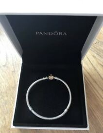Pandora silver moments bracelet with 14ct gold clasp