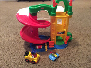 Little people, fisher price plane and car garage