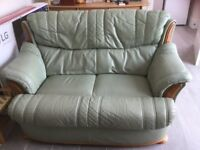 Green Leather matching 2 seater Settee and Armchair