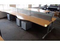6-person Desk Cluster, comprising 6 wave fronted desks 1600mm x 1000mm,