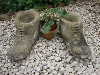 "Pair Of Rustic Stone Boot Planters 14"" Long."