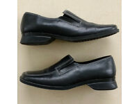 HONEYSOLES size UK 3 EU35 womens black leather loafers comfort shoes