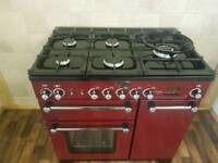 RANGEMASTER KITCHENER 90CM RANGE COOKER IN CRANBERRY AND CHROME.