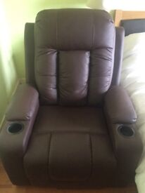 Brown leather riser recliner chair (dual motor)