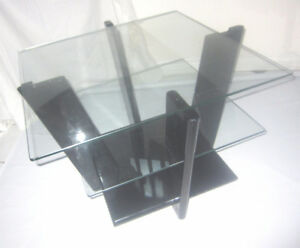 Beautiful Art Deco 3 Tier Glass and Black Lacquer Coffee Table