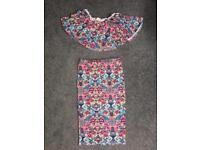 Floral two piece skirt and Bardot crop top