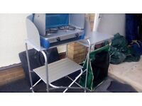 Done camping and selling items - 2 ring cooker on stand and storage unit